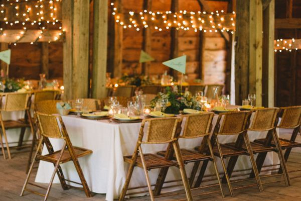 Bamboo Folding Chairs With White Linens