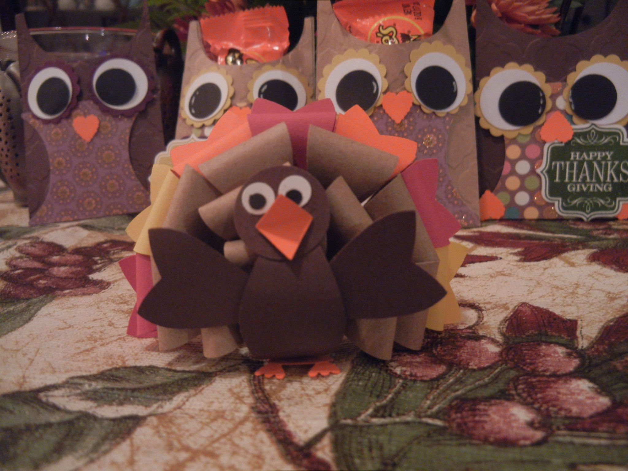 Turkey with Bow builder punch Stampin Up