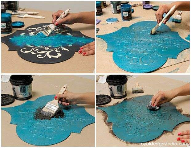 How to stencil moroccan dreams wall art wood shapes wall decor diy tutorial that you can do yourself how to dry brush with royal stencil creme solutioingenieria Images