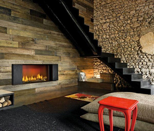 la d co avec une chemin e contemporaine room inspiration. Black Bedroom Furniture Sets. Home Design Ideas