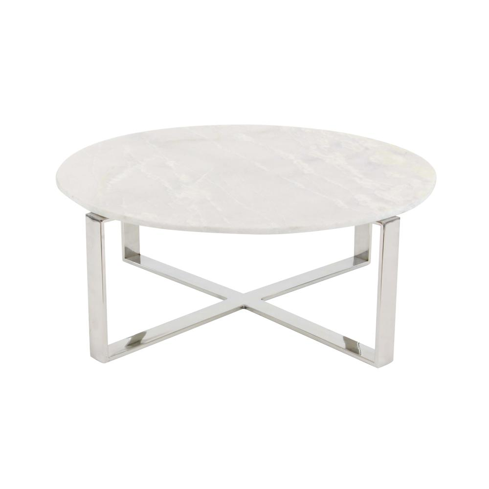 - Litton Lane Modern Marble Top Round Coffee Table 57340 Stainless