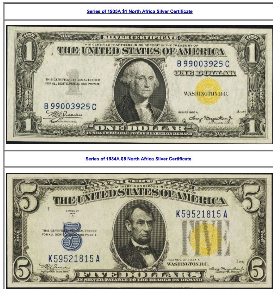 Yellow Seal Silver Certificates Are Commonly Called North Africa