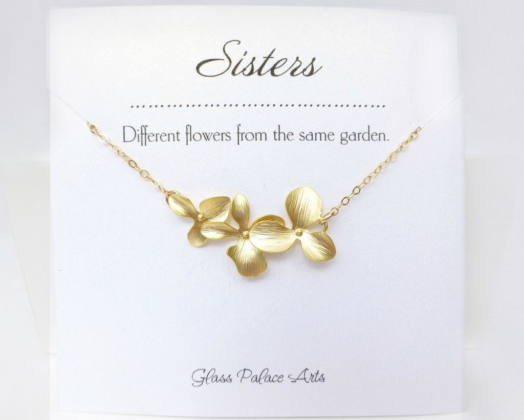 Orchid Flower Necklace With Sister Note Card Note cards Note