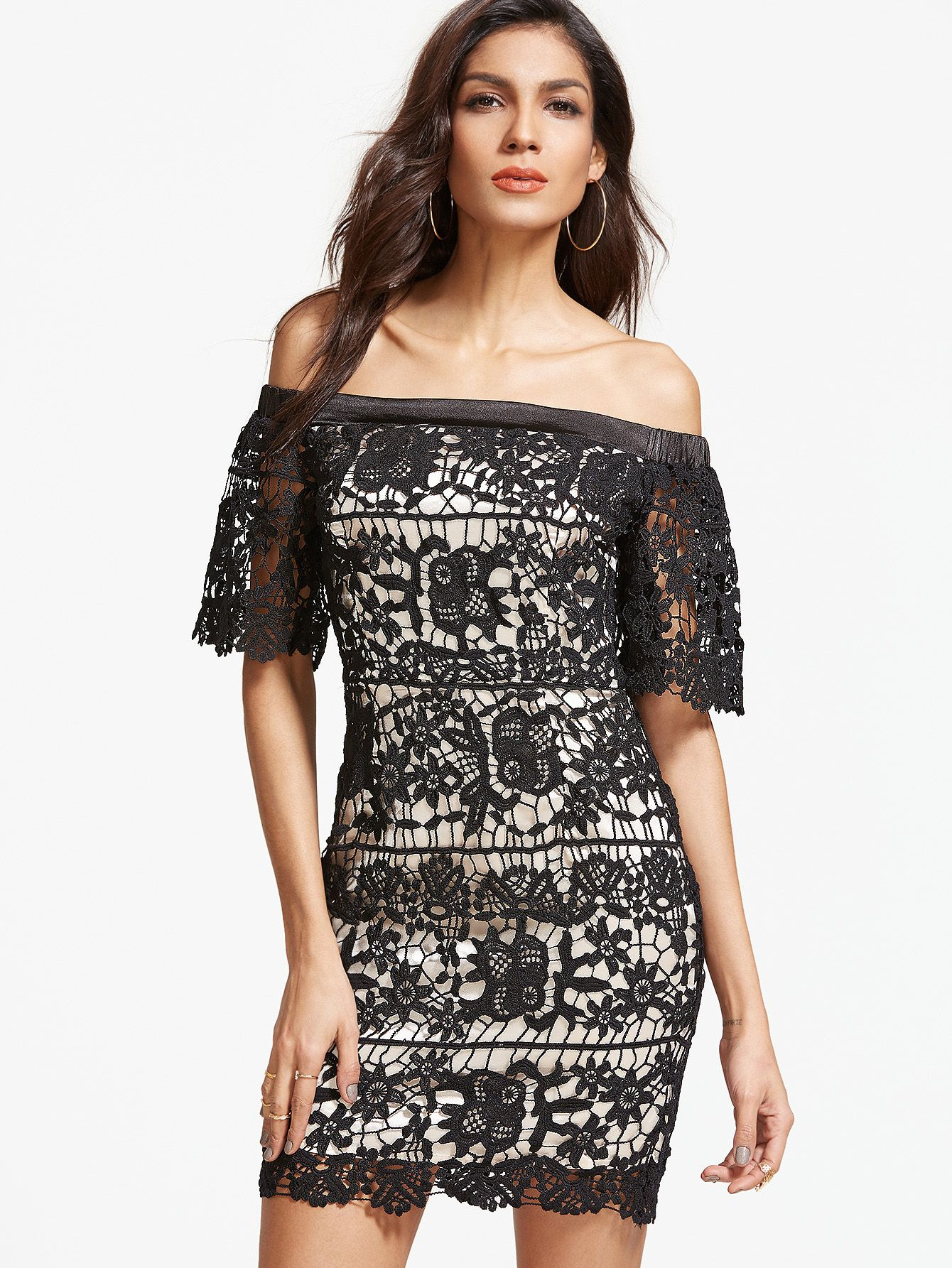 Lace dress gray  Shop Black Embroidered Lace Overlay Off The Shoulder Dress online