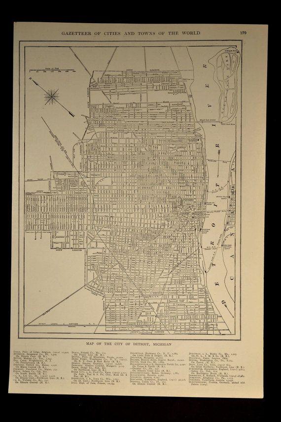 Detroit Map Detroit Street Map Antique Michigan 1920   Pinterest ...