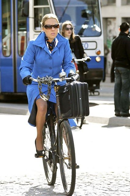 dutch woman in style with klm uniform i should trade my car in for a bike much more. Black Bedroom Furniture Sets. Home Design Ideas