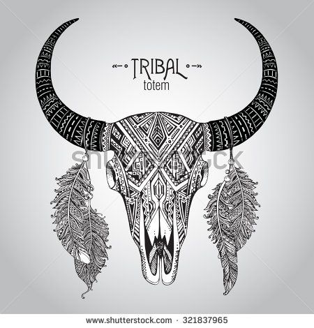 Hand drawn Vector illustration of bull skull with feathers. Ethnic indian ornament - stock ...