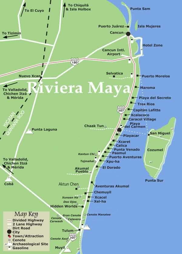 Map Of Riviera Maya Map of Riviera Maya, Cozumel, Tulum, Xcaret & Isla Mujeres