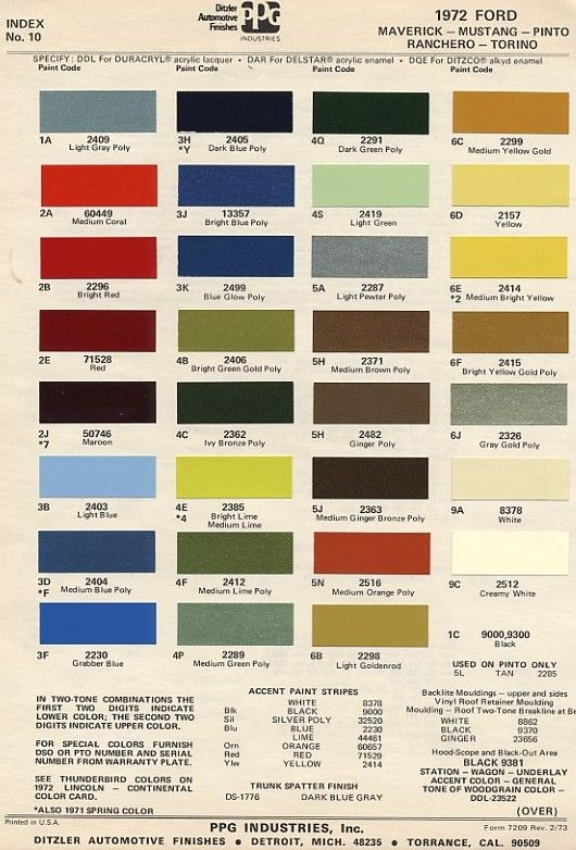 Vintage Ford Paint Chips 1972 Car Paint Colors Paint Charts 1971 Ford Mustang