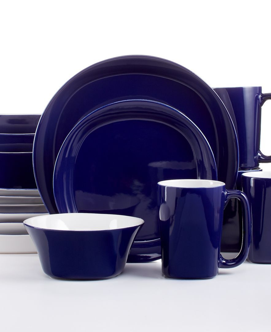 Rachael Ray Round and Square Blue 16-Pc. Set, Service for 4 ...