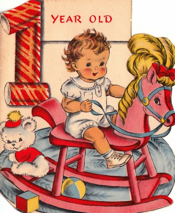 Vintage 1st Birthday Card 1940s More