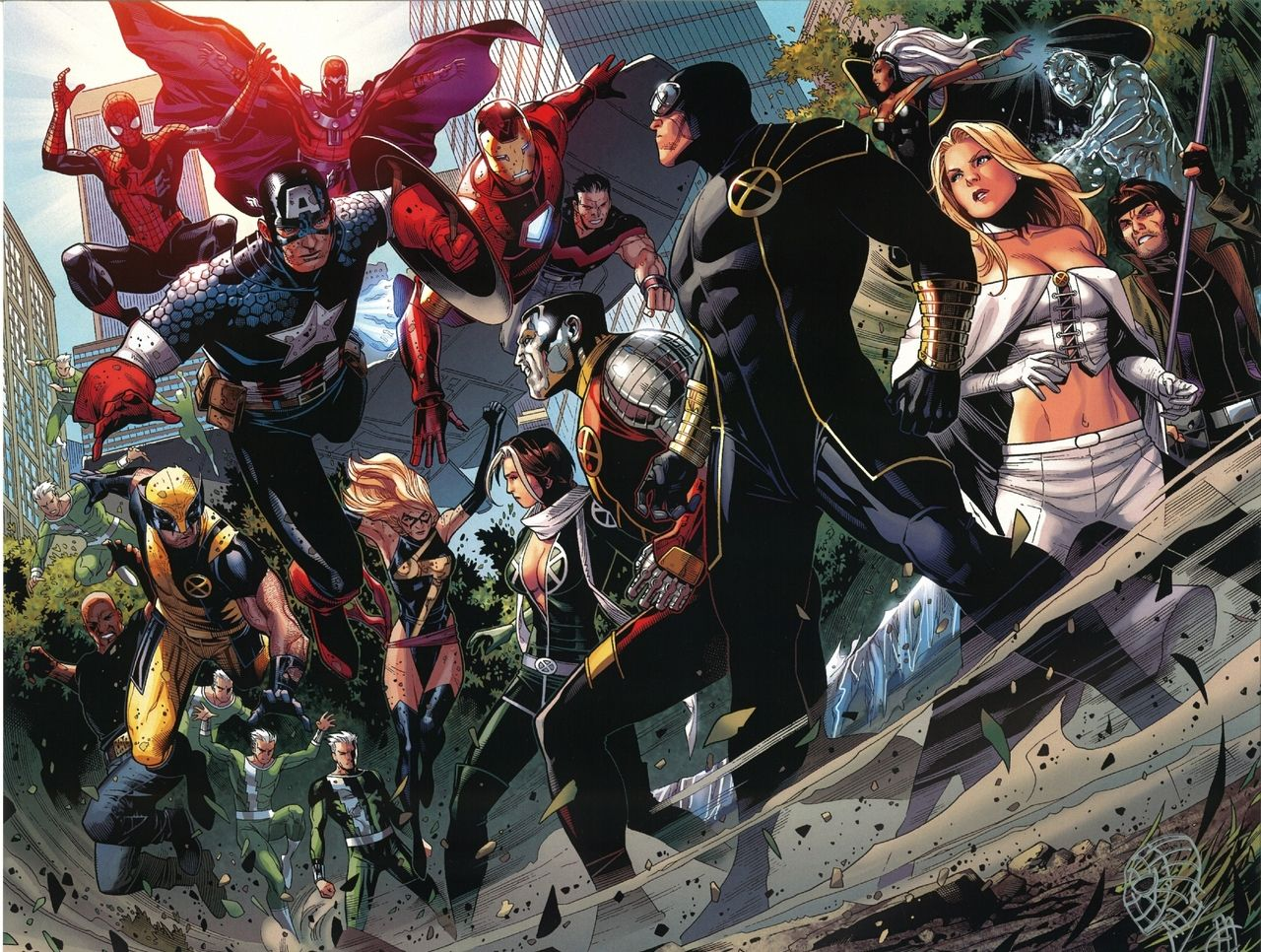 Avengers Vs X Men Illustrations By Jim Cheung I Have This Print Signed In My Den Marvel Comic Books Wolverine Marvel Marvel Events