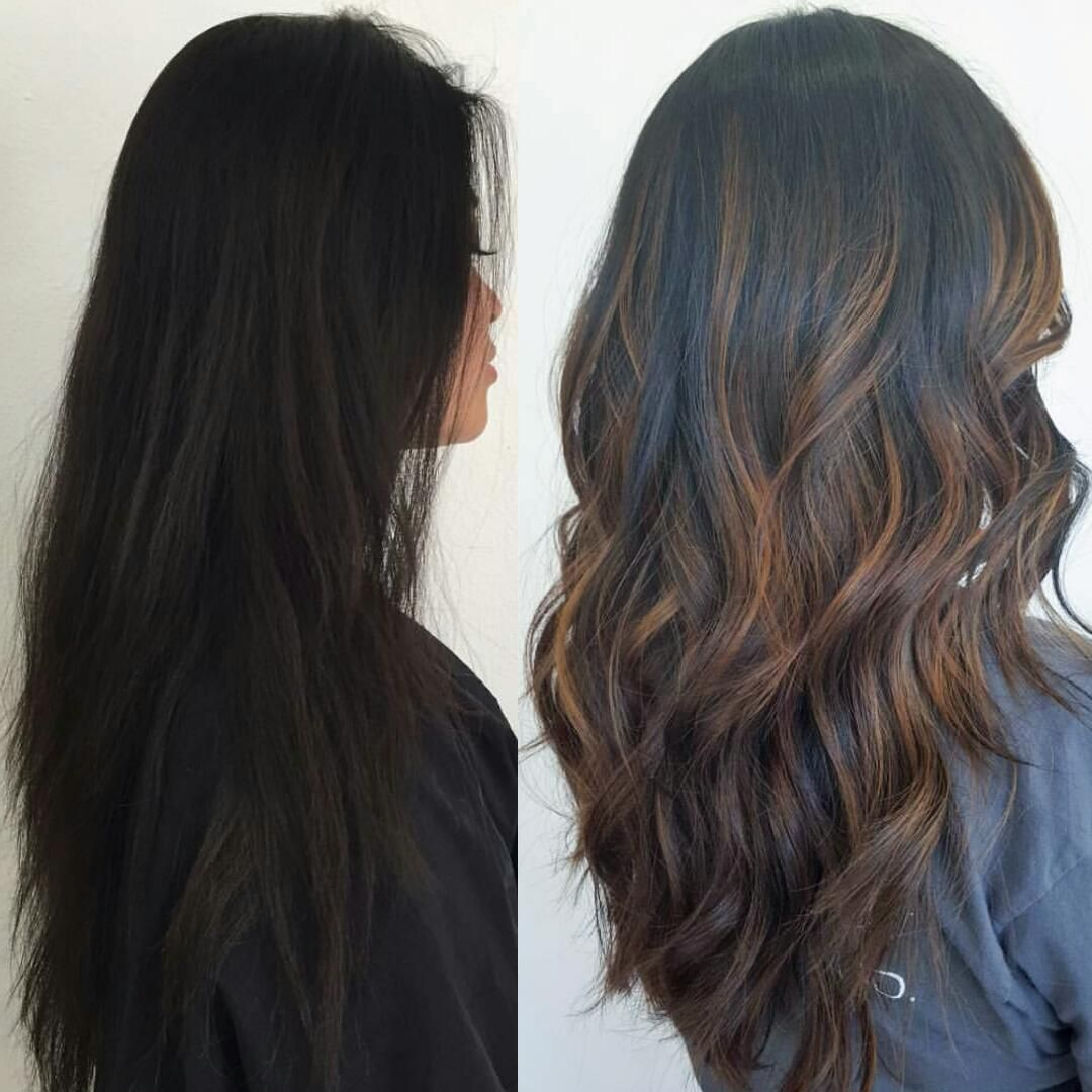 Before After Subtle Brown Balayage Highlights On Black Hair