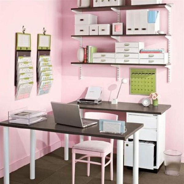 Cute small office design ideas for women. Using two