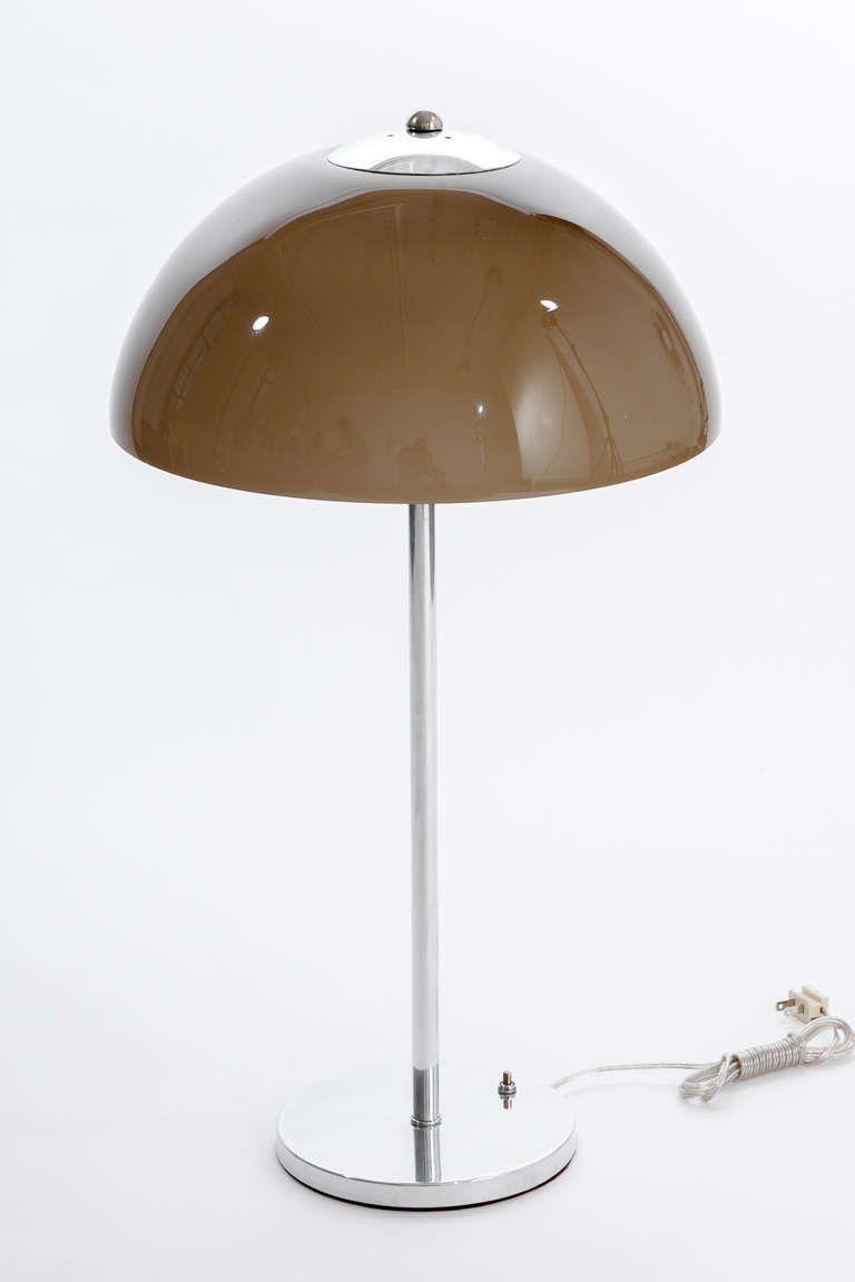 Gino Sarfatti Nickel Amp Smoke Glass Dome Lamp 1970s Lumi 232 Re De Lampe Vintage Design Et Deco