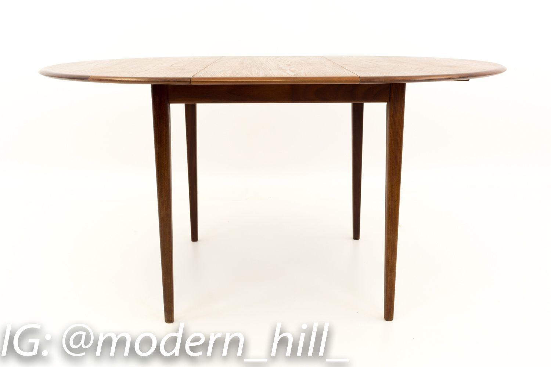 R Huber Kai Kristiansen Style Mid Century Modern Round Oval Teak