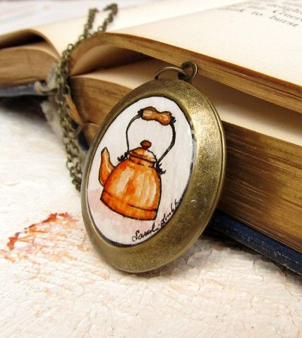 Copper Kettle -- Tea Kettle Watercolor Painting Locket by Sarah-Lambert Cook http://www.sarahlambertcook.com/collections/frontpage/products/copper-kettle-tea-kettle-watercolor-painting-locket