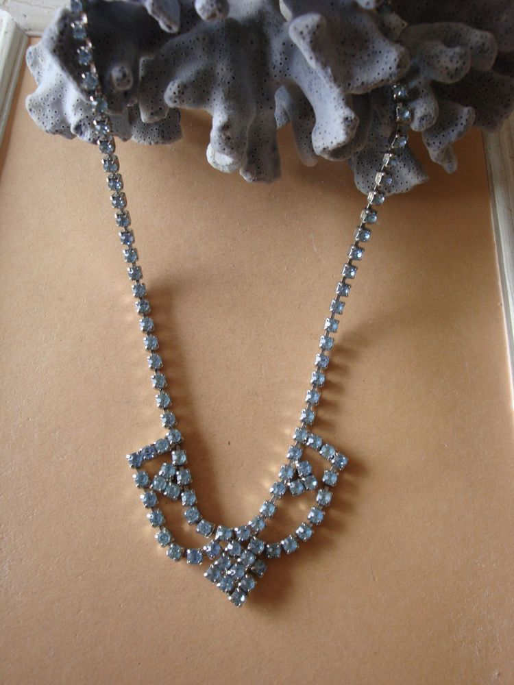 Vintage Necklace Rhinestone Pale Blue Prong Set Glass Crystal Collar Choker