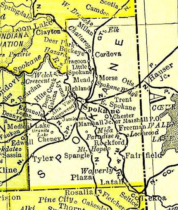 spokane to montana railroad Old railroad map of Spokane County