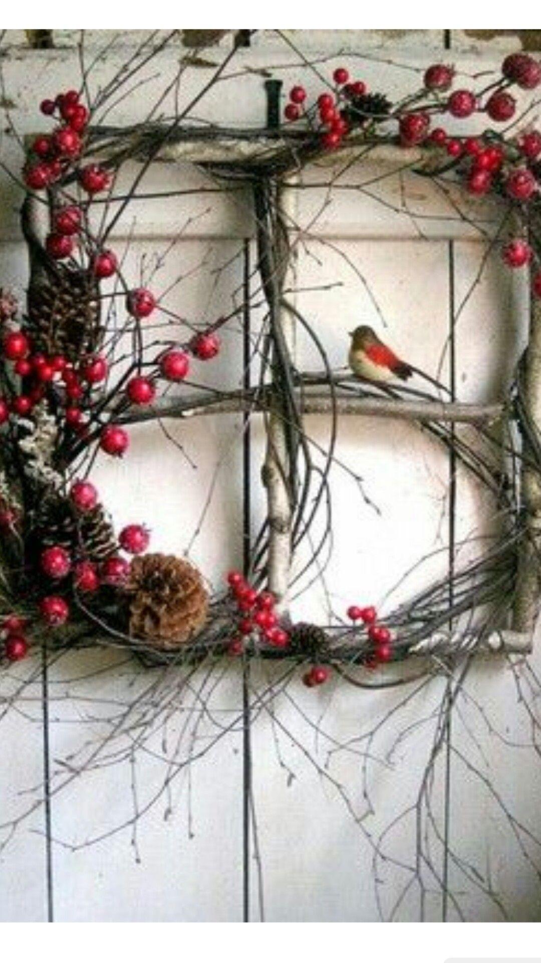 Window frame decor with wreath  pin by mihaela stanciu on mi  pinterest  wooden window frames