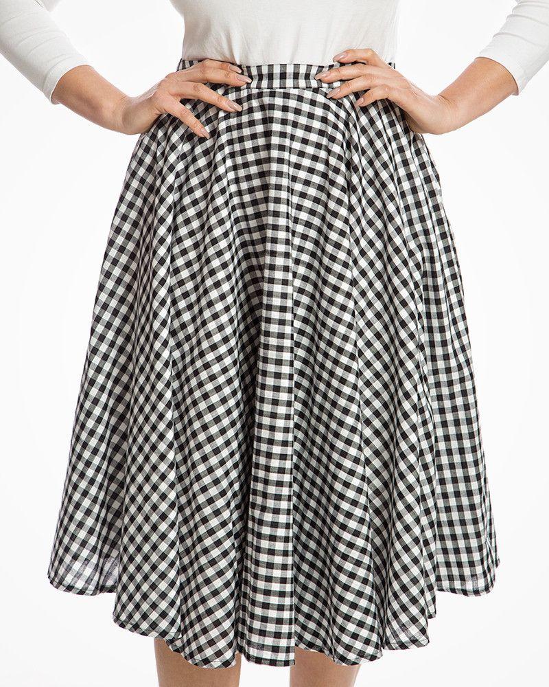 c674c50eb Peggy Sue' Classic 1950s Full Circle Swing Skirt in Black Gingham ...