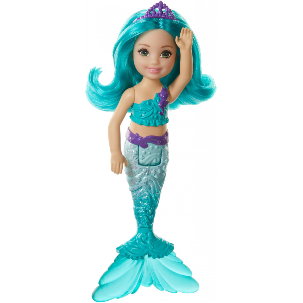 Barbie Dreamtopia Chelsea Mermaid Doll, 6.5-Inch With Teal