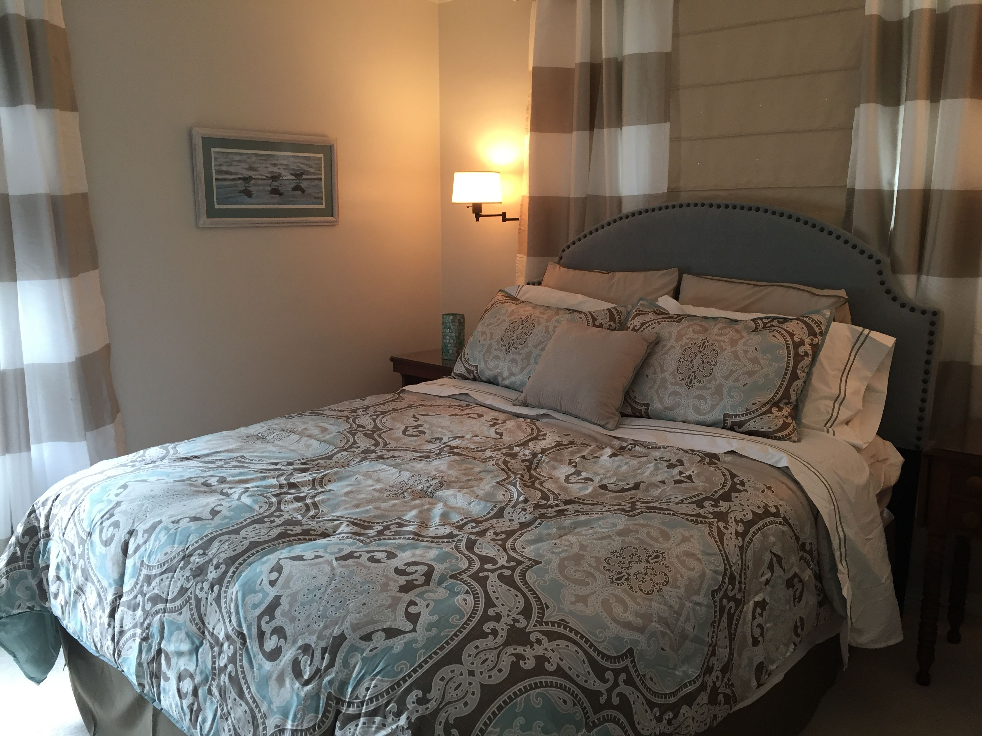 My guest bedroom make over: Headboard -wayfair wall paint -SW shoji white, bedding and drapes (except shades)-Target.