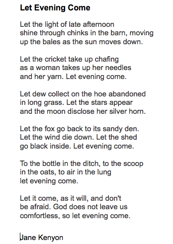 let evening come poem analysis