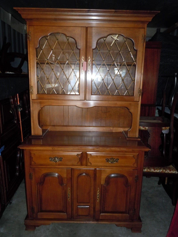 Hutch China Cabinet Cherry Wood By Thomas P Beal S Company Ebay