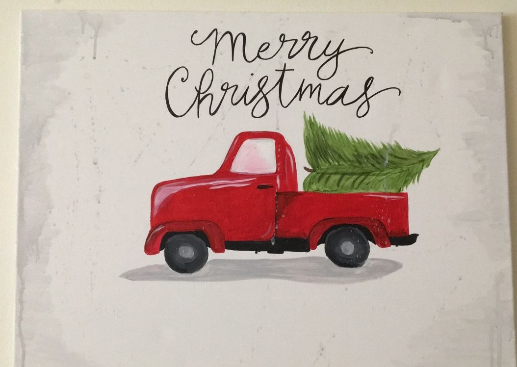 Merry Christmas Red Truck Painting Christmas Tree Painting Tree In Truck Diy Acryl Diy Christmas Canvas Christmas Tree Painting Christmas Wall Art Printables