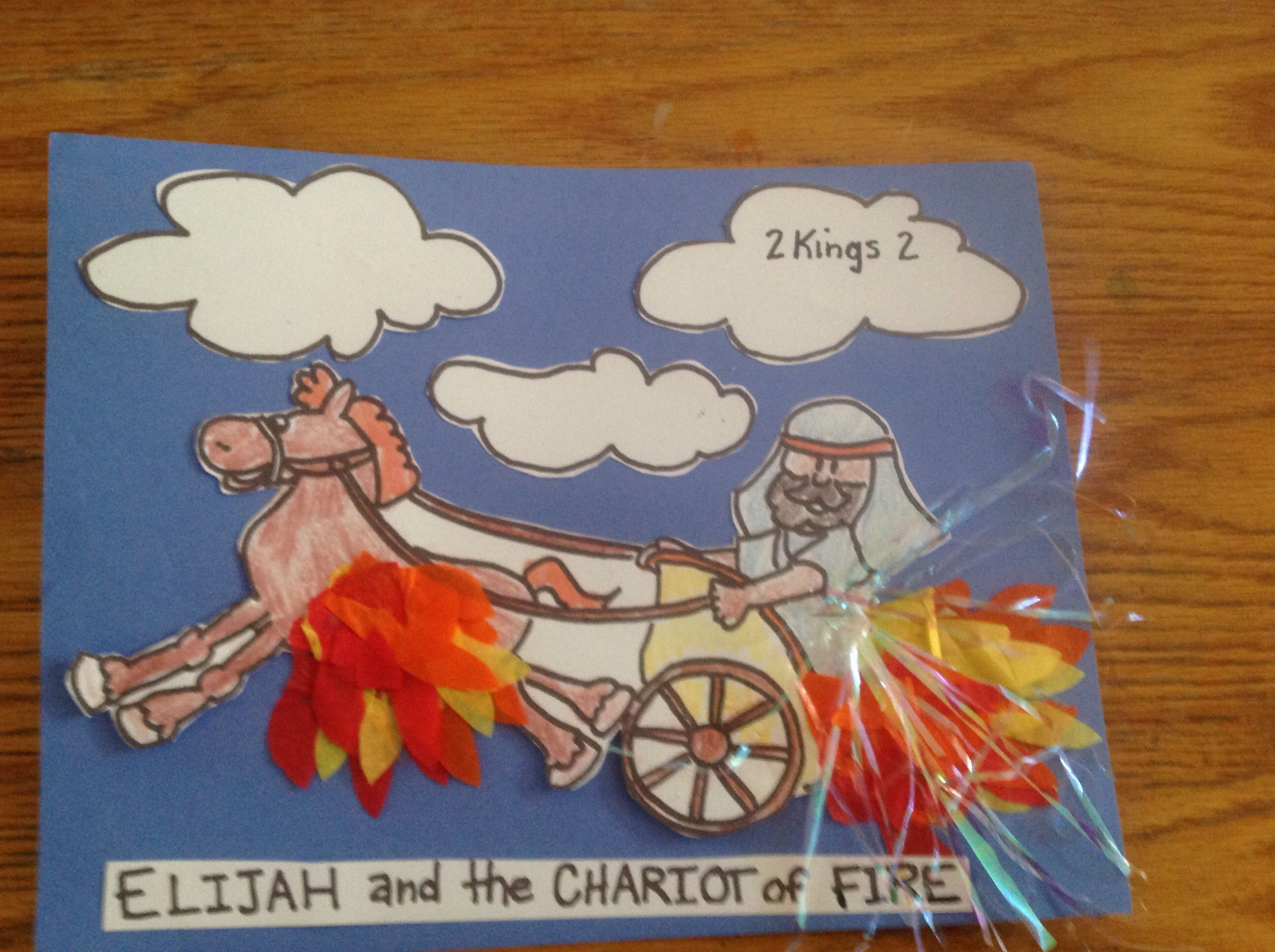 Free coloring pages elijah goes to heaven - Elijah And The Chariot Of Fire Bible Craft