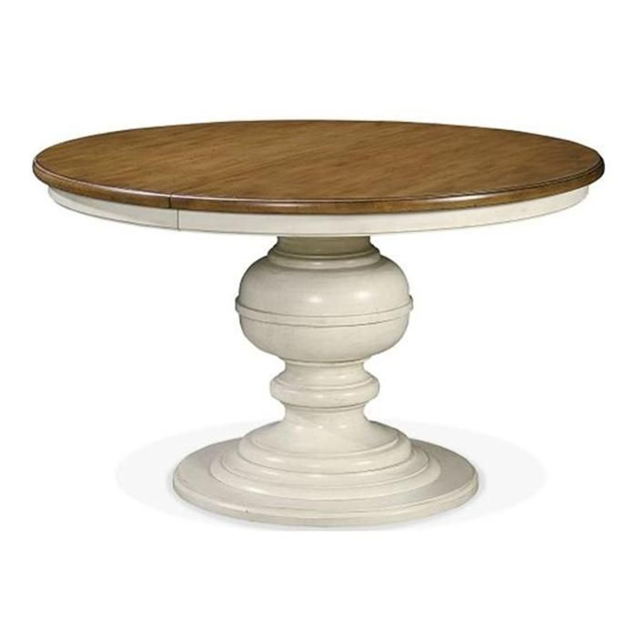 Nfm 1020 summer hill round single pedestal table in cotton nebraska furniture mart
