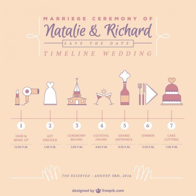 Casamento bonito cronograma Vetor grátis