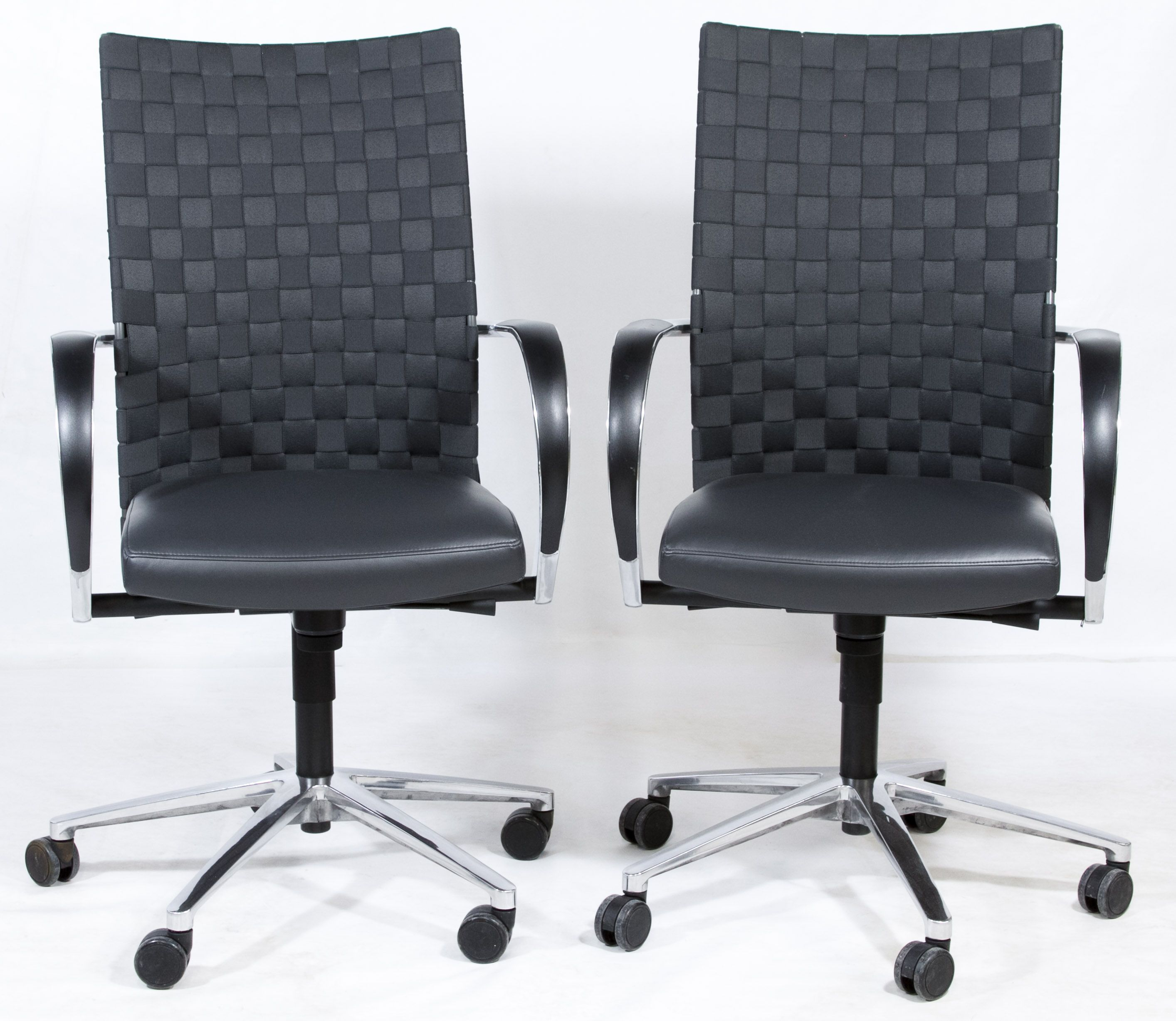 Lot 105 Woven Fabric and Chrome Desk Chairs; Matching