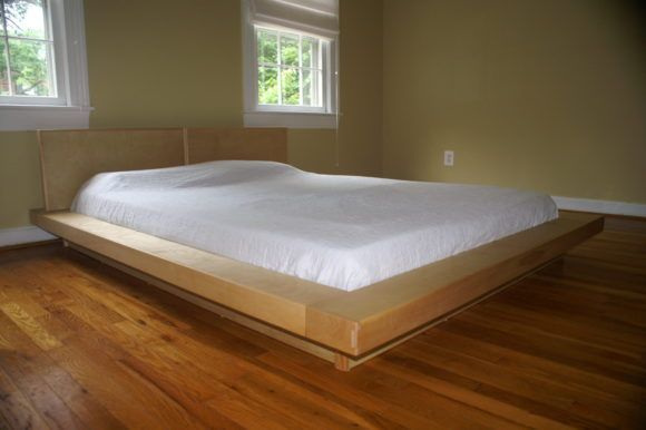 Furniture Minimalist King Size Japanese Style Floating Platform Bed Frame With Headboard