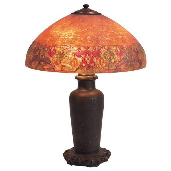Handel lamp reverse painted chipped ice shade with persian border 294 handel lamp reverse painted chipped ice shade wit mozeypictures Choice Image