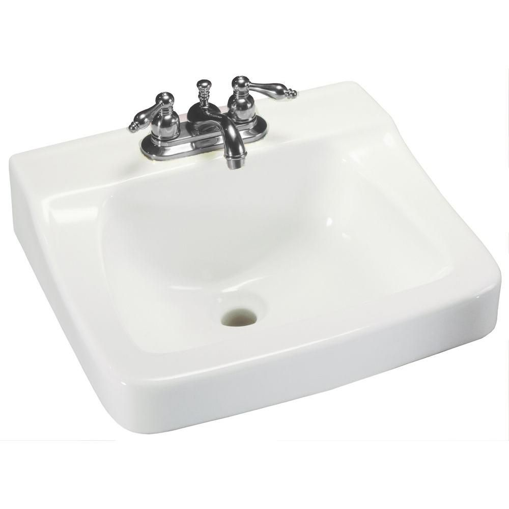 Pleasing Glacier Bay Aragon Wall Mounted Bathroom Sink In White Home Interior And Landscaping Ologienasavecom