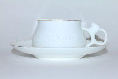 Russian Imperial Lomonosov Porcelain bone Tea cup and saucer Golden edge 22k