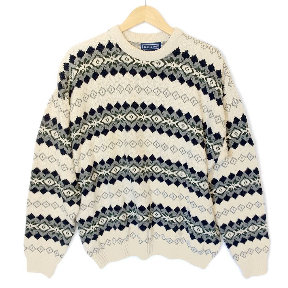 Savile Row Cream Cotton Nordic Ugly Ski Sweater | Ugly Ski ...