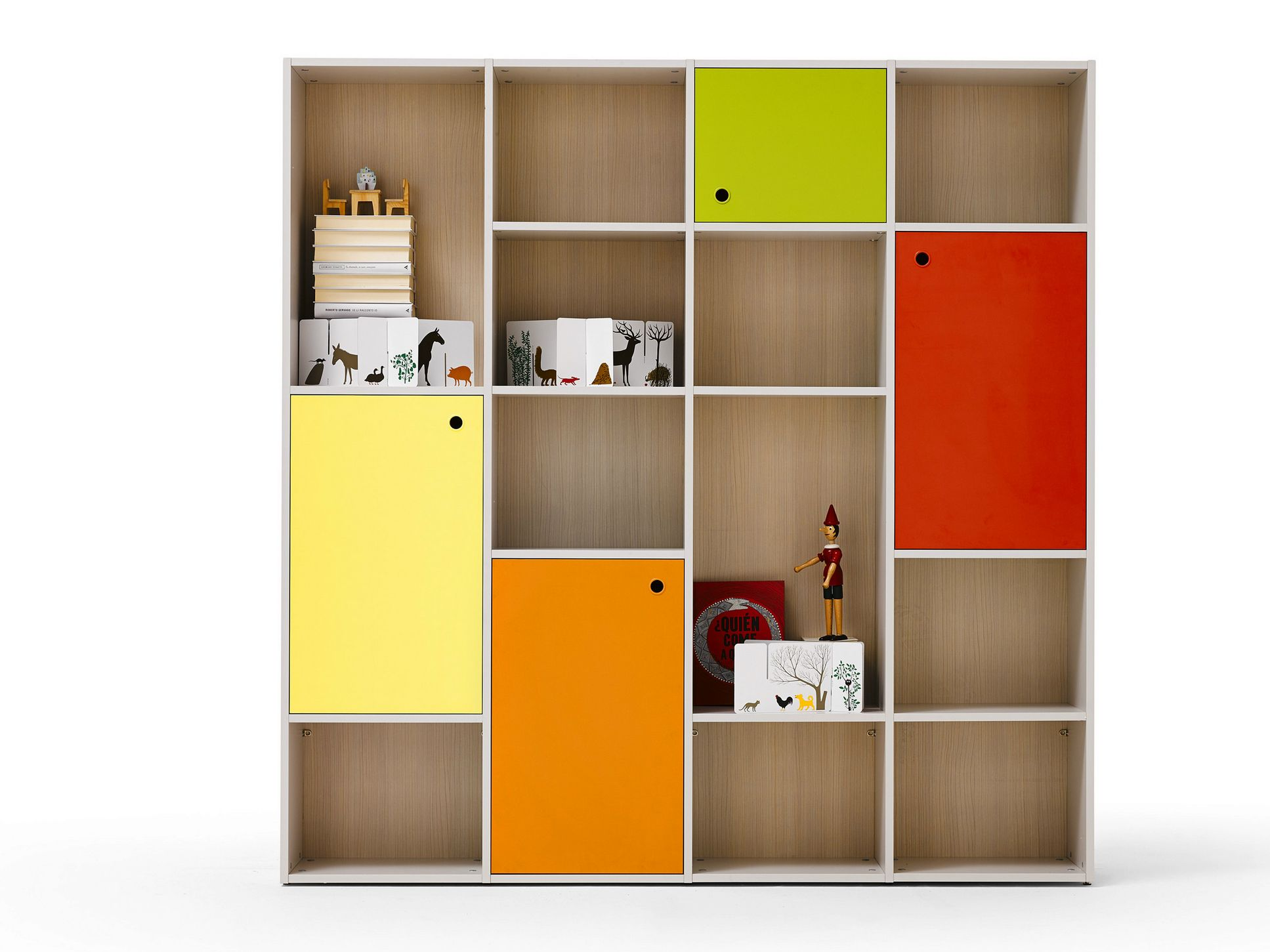 Camerette nidi ~ Open sectional kids bookcase luce nidi collection by battistella
