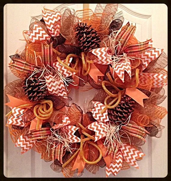 Fall Deco Mesh Wreath w/Glittered Pine Cones/Thanksgiving Harvest Deco Mesh Wreath/Brown and Orange Thanksgiving Deco Mesh Wreath #ConesThanksgiving #Deco #fall #Harvest #decomeshwreaths