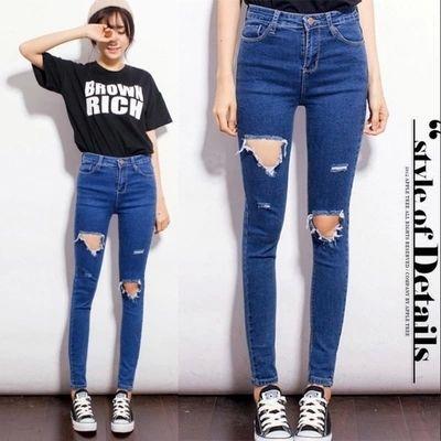 2015 High Waist plus Size Jeans Women Skinny Pencil Pants Denim Ripped  Boyfriend Jeans With Holes