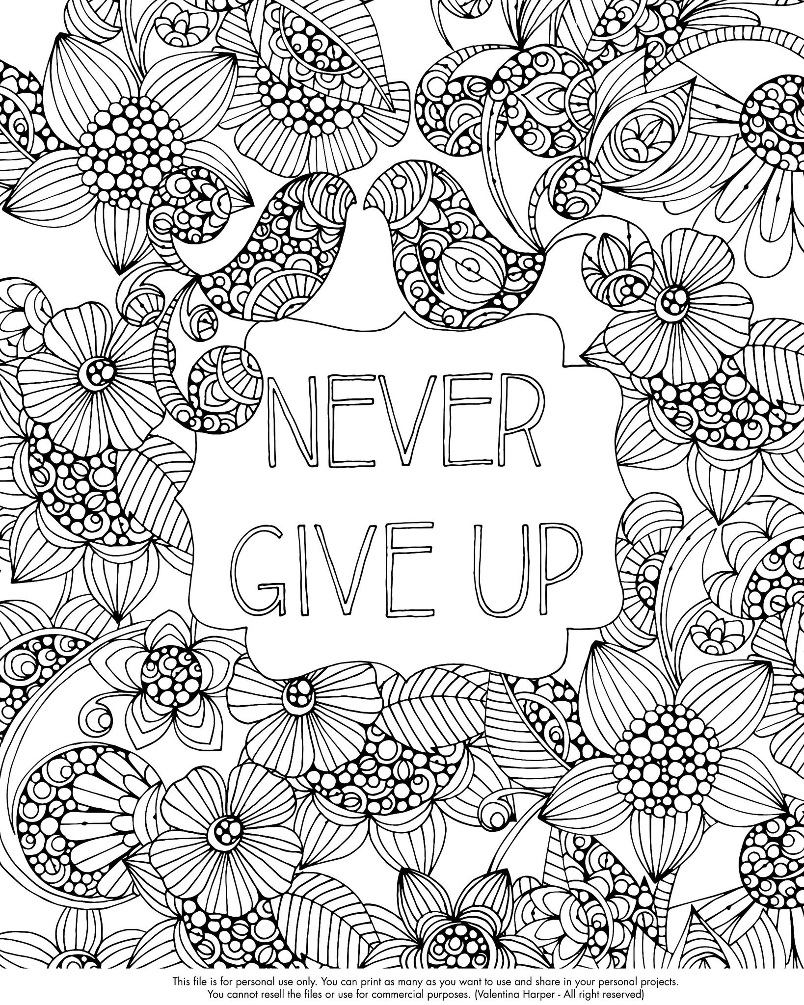 Never Give up Free coloring pages, Free adult coloring