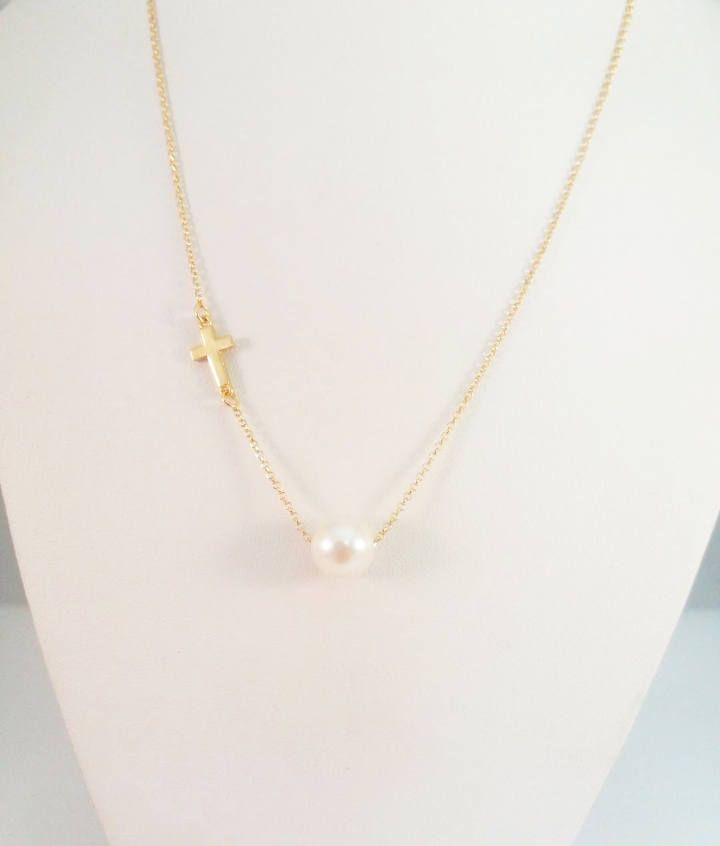 Single pearl necklace cross pendant sideway cross necklace single pearl necklace cross pendant sideway cross necklace bridesmaid bridal gift women aloadofball Gallery