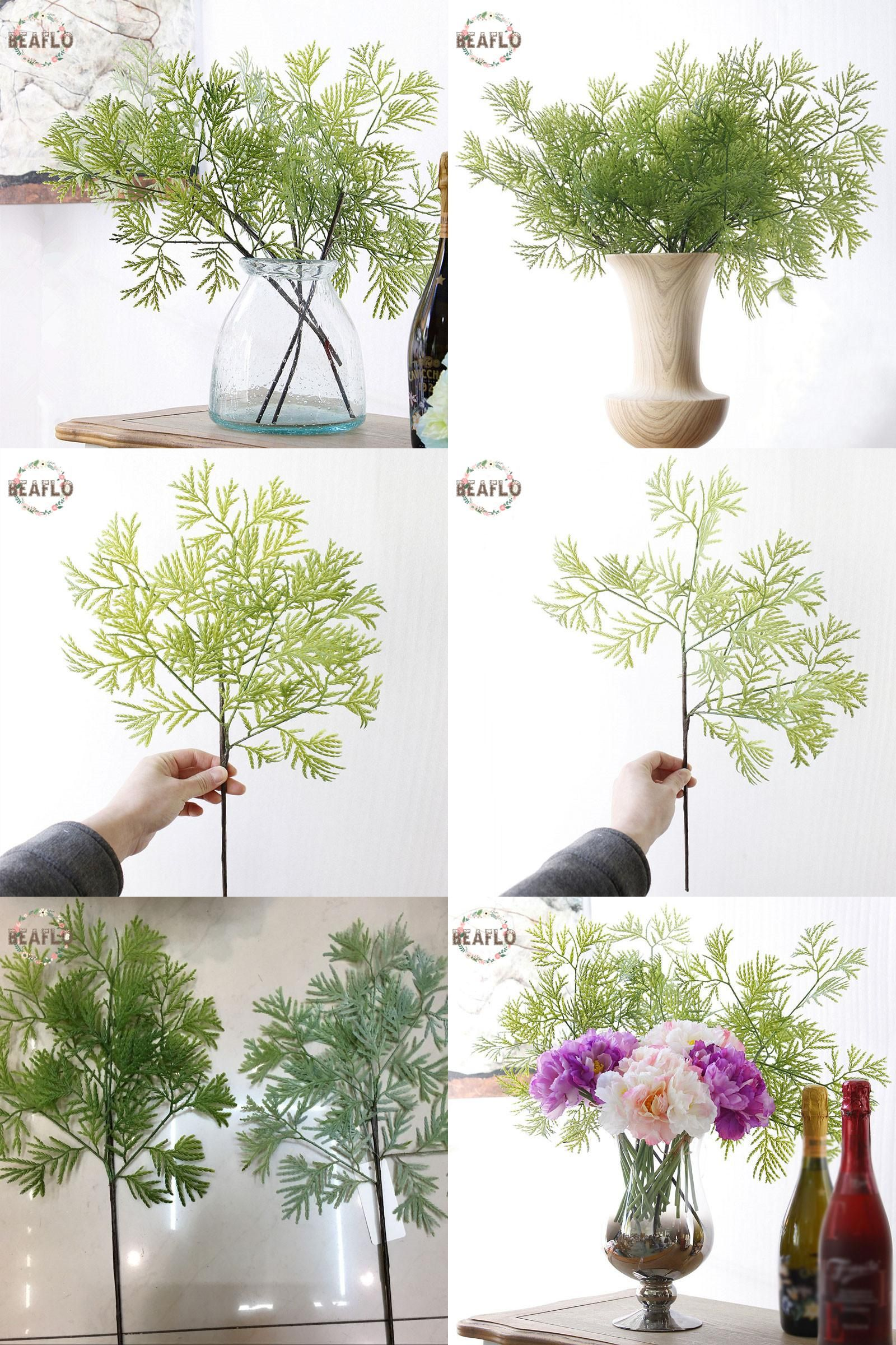 Wedding decoration ideas home  Visit to Buy PC Green Artificial Cypress Leaf flower leaves