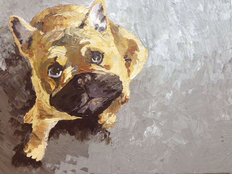 French Bulldog Portrait Large Pet Painting Modern Dog Art Custom