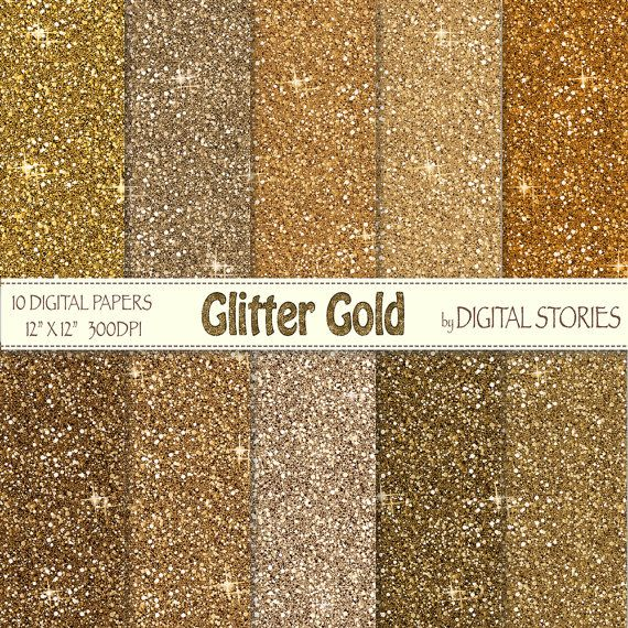 Glitter Digital Paper Glitter Gold Scrapbook Papers With Golden