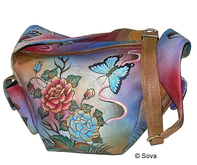 Sova Hand Painted Leather Hobo Bag Leatherhobobags Handbags Outfit Leatherhandbags