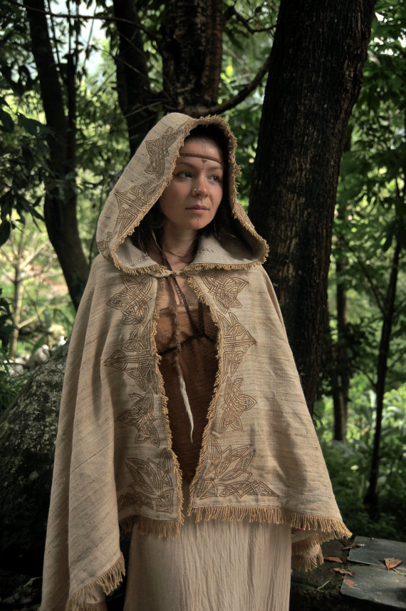 418fa44549 Celtic Medieval Cloak Made of Hand Woven Raw silk and Wool Fantasy Fairy  Poncho