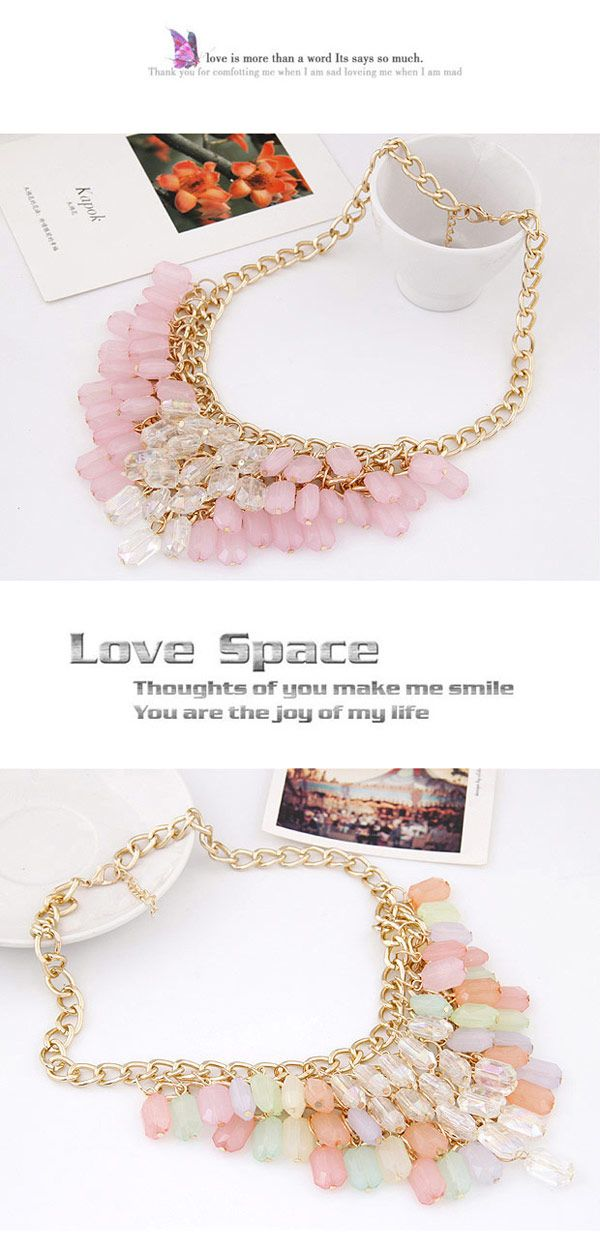 brightly colored Multicolor Beads Decorated Tassel Design Alloy Korean Necklaces,Korean Necklaces